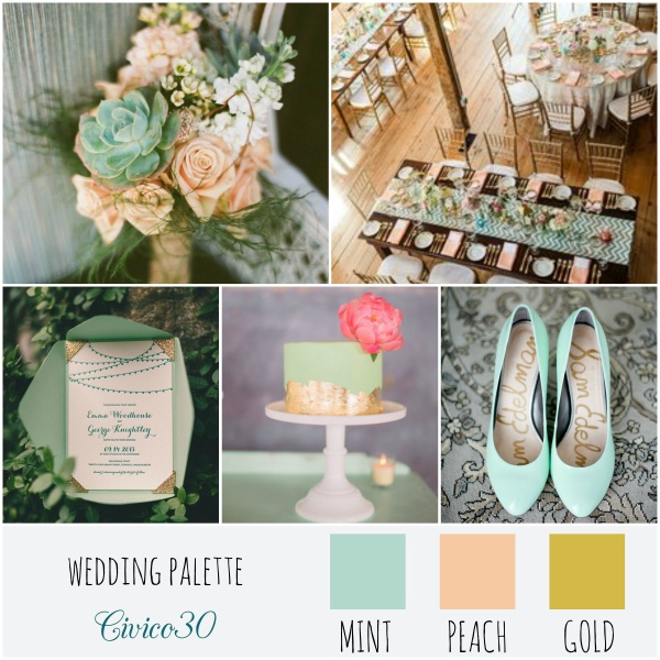 palette mint peach gold