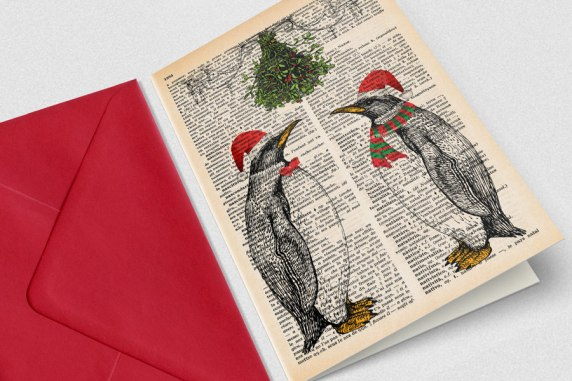 Penguins-under-the-mistletoes-Merry-Christmas-wishes-greeting-card-Design-by-Natura-Picta-NPGC073-pic1